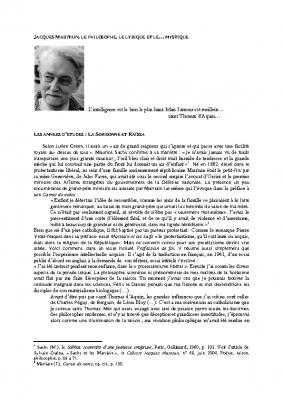 Jacques Maritain une trajectoire intellectuelle et humaine