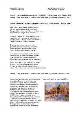 Prière et poésie Va prier dans saint Marc Anna de Noailles M Desbordes Valmore v