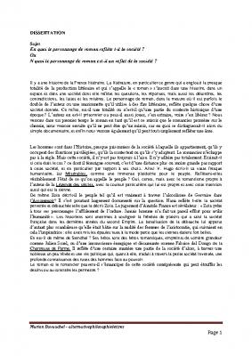 Dissertation roman reflet de la societe