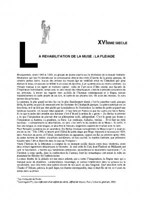 6 La Pléiade la réhabilitation de la Muse