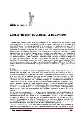 8 Le romantisme la résurrection de la Muse
