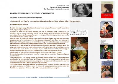 Art de Balzac- portraits de femmes