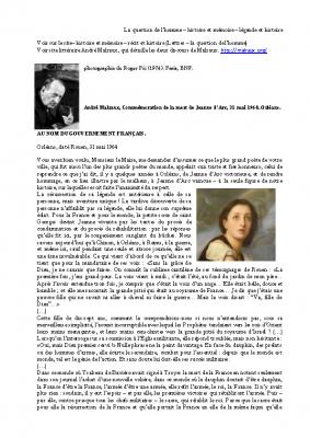 Construire une séquence L'éloge Discours de Malraux à Rouen