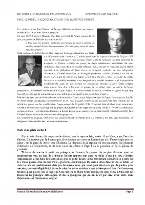 Jacques Maritain – Paul Claudel – les points sur les i