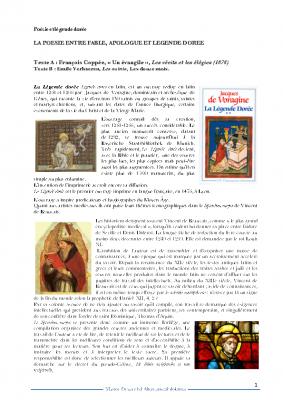 Poésie et Hagiographie- la légende dorée – Coppée-Verhaeren