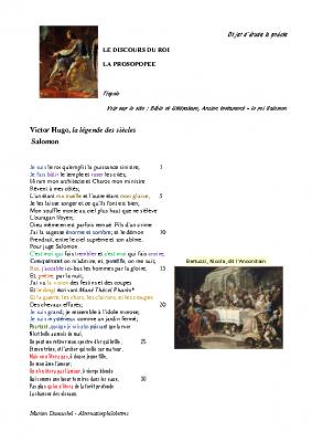 la Prosopopée – V. Hugo – Salomon – Le discours du roi