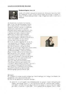 La Langue de Mathurin Régnier