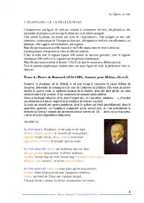 Anaphore et prétérition Ronsard