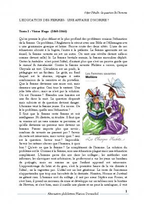 Hugo Molière l'éducation des femmes