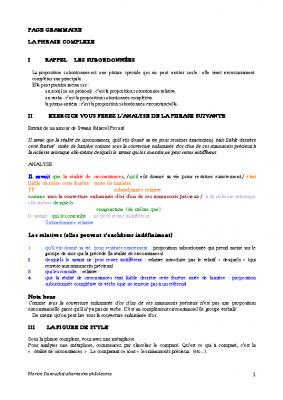 Grammaire les subordonnées Proust