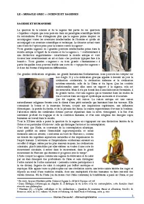 Le miracle grec – science et sagesses