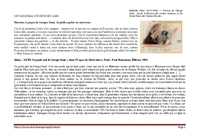 On parle mal de Georges Sand